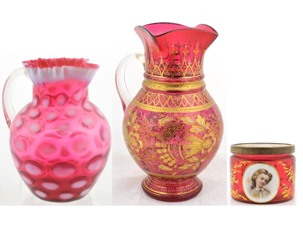 21: A GROUP OF ANTIQUE RUBY GLASS