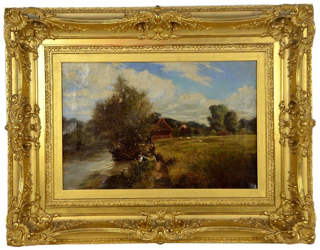 102: AN ANTIQUE OIL ON CANVAS IN GILT FRAME