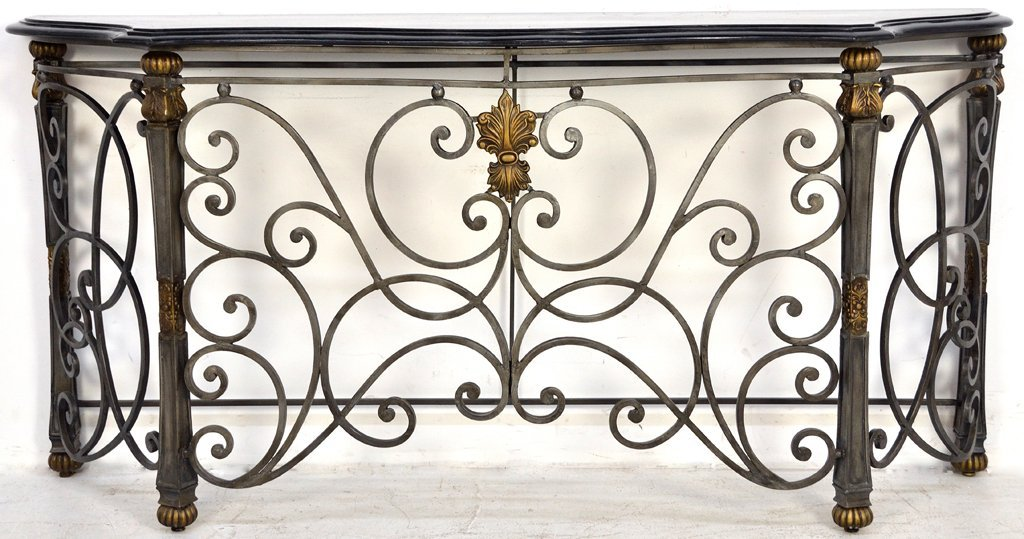 209 ornate wrought iron console table with stone top