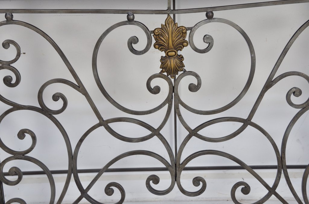 209: ORNATE WROUGHT IRON CONSOLE TABLE WITH STONE TOP - 2