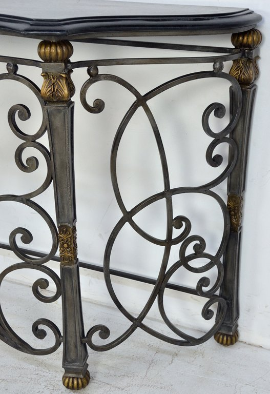 209: ORNATE WROUGHT IRON CONSOLE TABLE WITH STONE TOP - 3