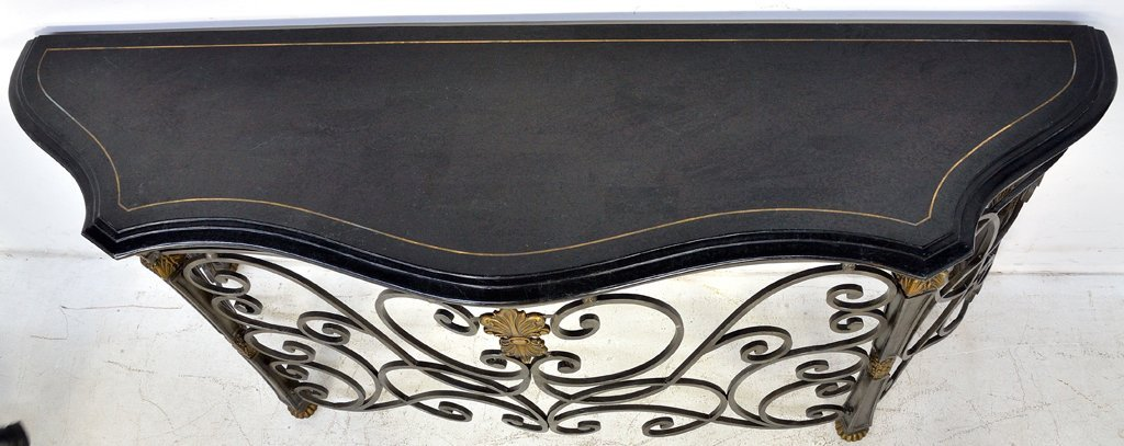 209: ORNATE WROUGHT IRON CONSOLE TABLE WITH STONE TOP - 6