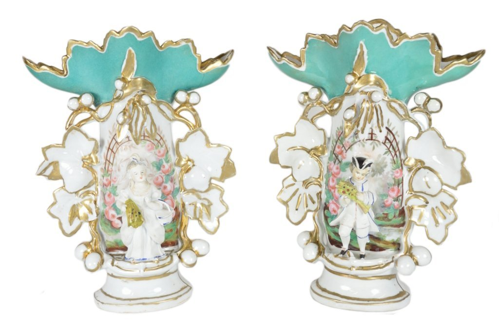 4: A PAIR OF CONTINENTAL FIGURAL VASES