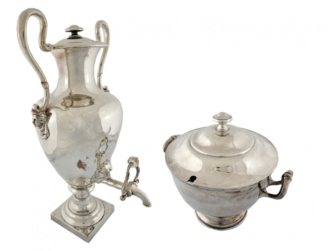 13: A VINTAGE SHEFFIELD SAMOVAR AND COVERED TUREEN