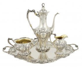 A FOUR-PIECE GORHAM STERLING SILVER TEA SERVICE Ame