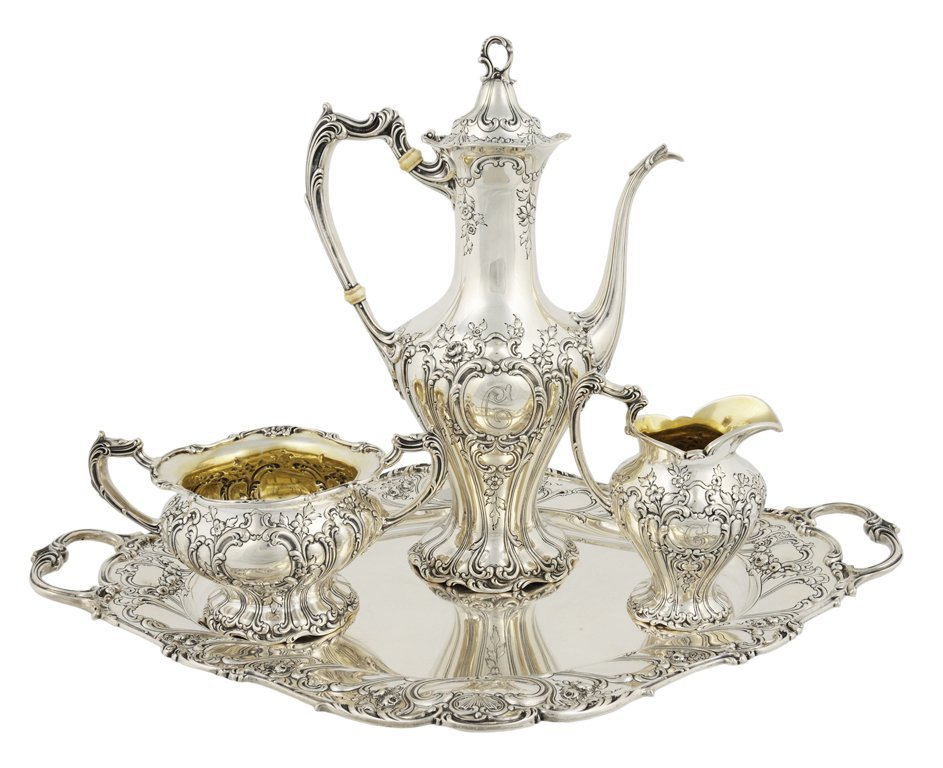 14: A FOUR-PIECE GORHAM STERLING SILVER TEA SERVICE Ame