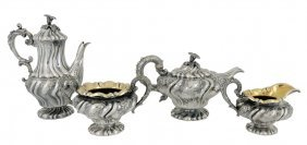 15: A GEORGE IV FOUR PIECE STERLING SILVER TEA SERVICE