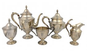 16: A FIVE PIECE STERLING TEA SERVICE BY FRANK M. WHITI