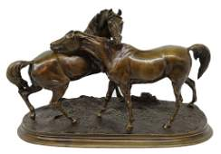 130 A CAST BRONZE FIGURAL GROUP TWO HORSES ACCOLADE
