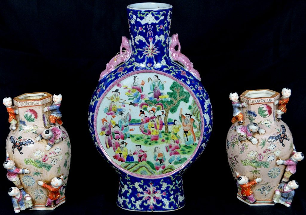 14: A LOT OF THREE ANTIQUE CHINESE FAMILLE ROSE VASES