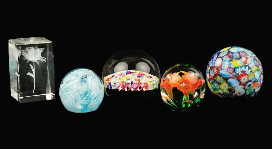 15: A GROUP OF FIVE PAPER WEIGHTS