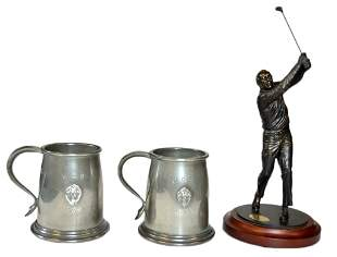 A LOT OF TWO PEWTER MUGS AND AN ARNOLD PALMER FIGURI