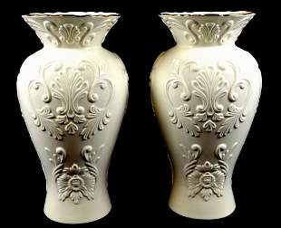 A PAIR OF LARGE LENOX WHITE CHINA VASES