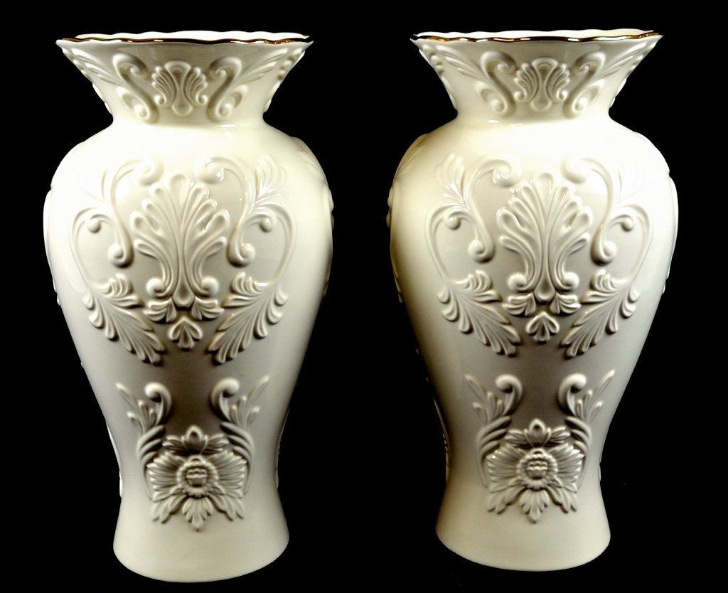 4: A PAIR OF LARGE LENOX WHITE CHINA VASES