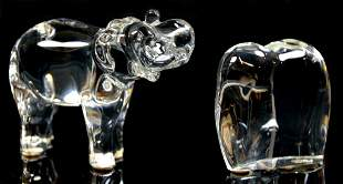 A LOT OF TWO BACCARAT CRYSTAL ELEPHANTS