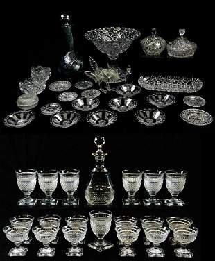 A LOT OF 45 PIECES OF GLASS TABLEWARE