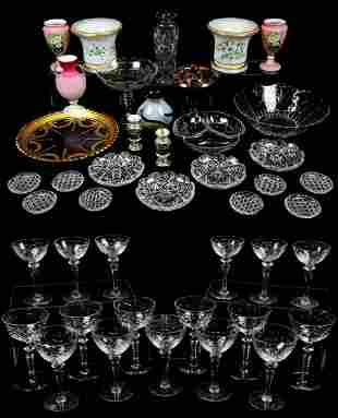 A MIXED LOT OF 43 CUT, ETCHED, AND DECORATED GLASSW