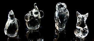 A LOT OF FOUR SMALL CRYSTAL ANIMALS
