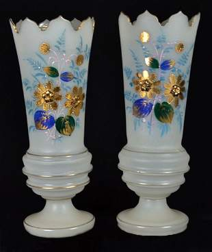 A PAIR OF HAND-BLOWN FROSTED GLASS VASES