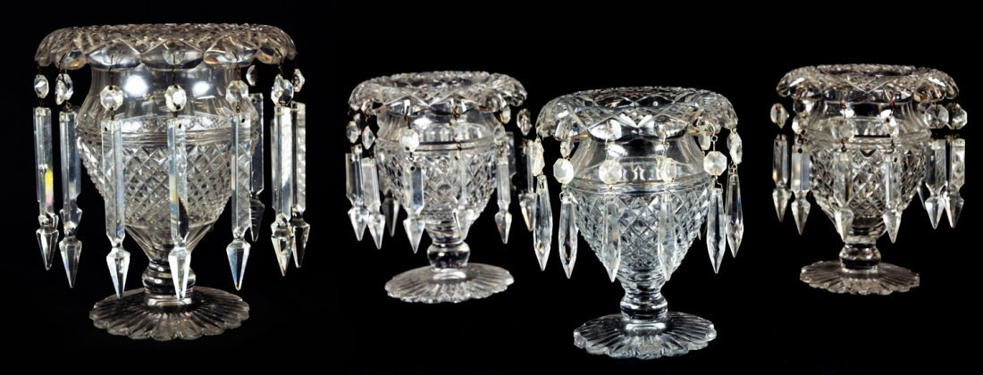 20: A GROUP OF FOUR CUT CRYSTAL VASES WITH PRISMS