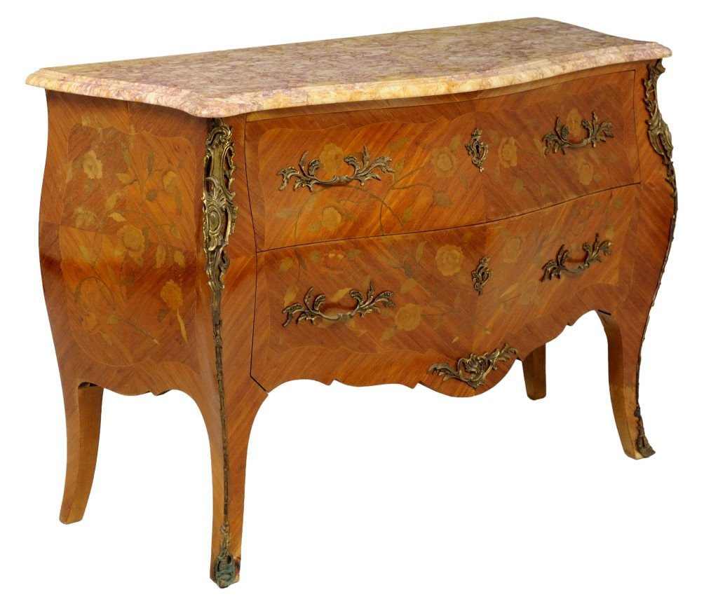 95: LOUIS XV STYLE INLAID BOMBÈ COMMODE MARBLE TOP