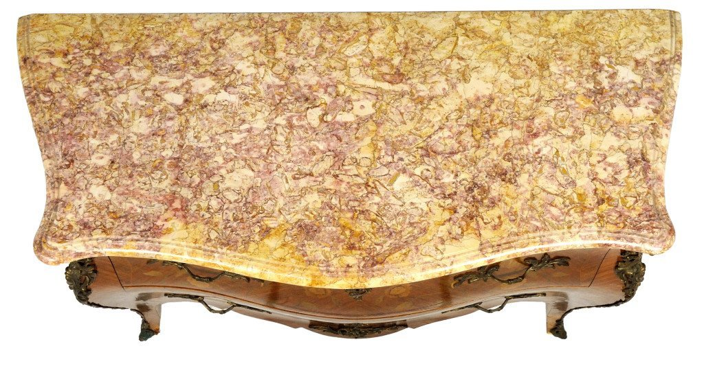95: LOUIS XV STYLE INLAID BOMBÈ COMMODE MARBLE TOP - 3