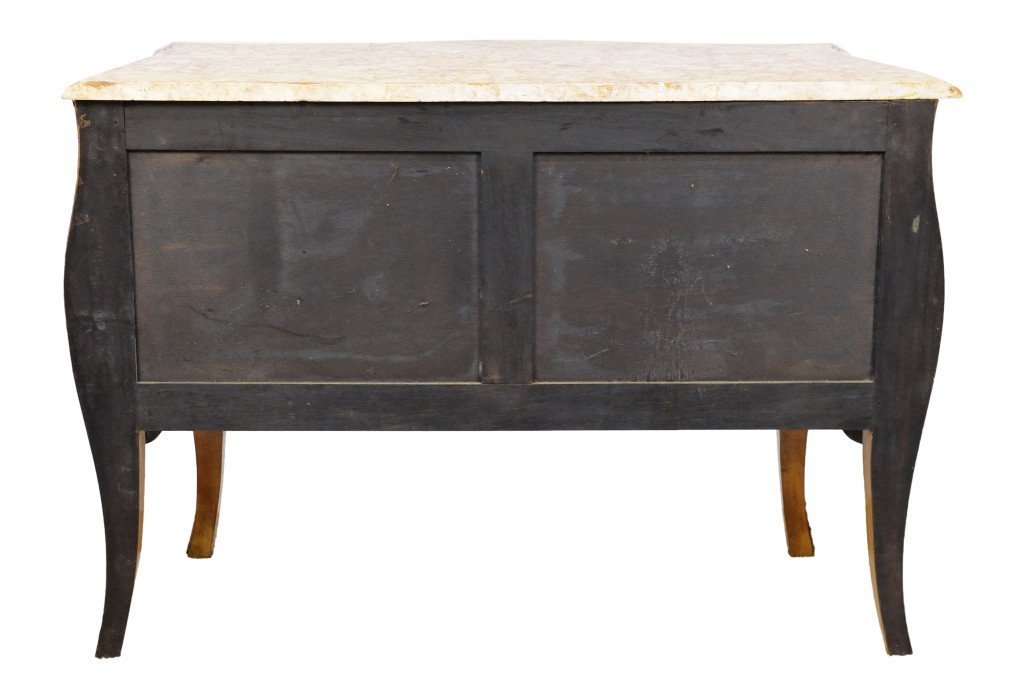95: LOUIS XV STYLE INLAID BOMBÈ COMMODE MARBLE TOP - 4