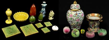 137 A MIXED GROUP OF ASIAN STYLE CERAMICS