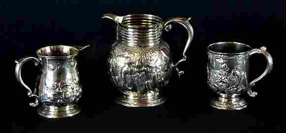 18: TWO STERLING SILVER PITCHERS AND ONE SHEFFIELD CUP