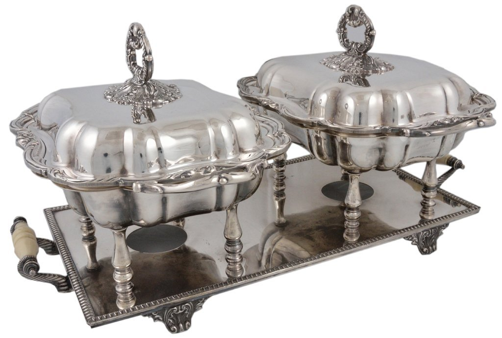 20: A LARGE SHEFFIELD DOUBLE CHAFING DISH