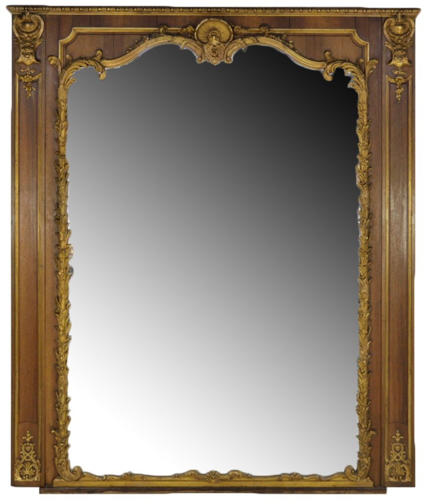 77: ANTIQUE FRENCH LOUIS XV STYLE CARVED AND GILT MIRRO