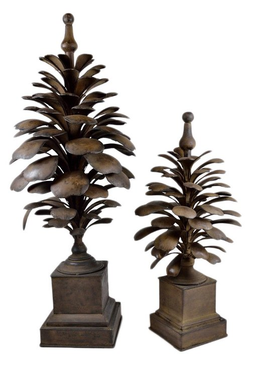 282 A Pair Of Large Decorative Metal Pinecone Finials