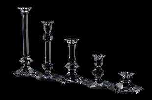 A GROUP OF 14 VAL ST. LAMBERT BELGIAN CRYSTAL CANDLE