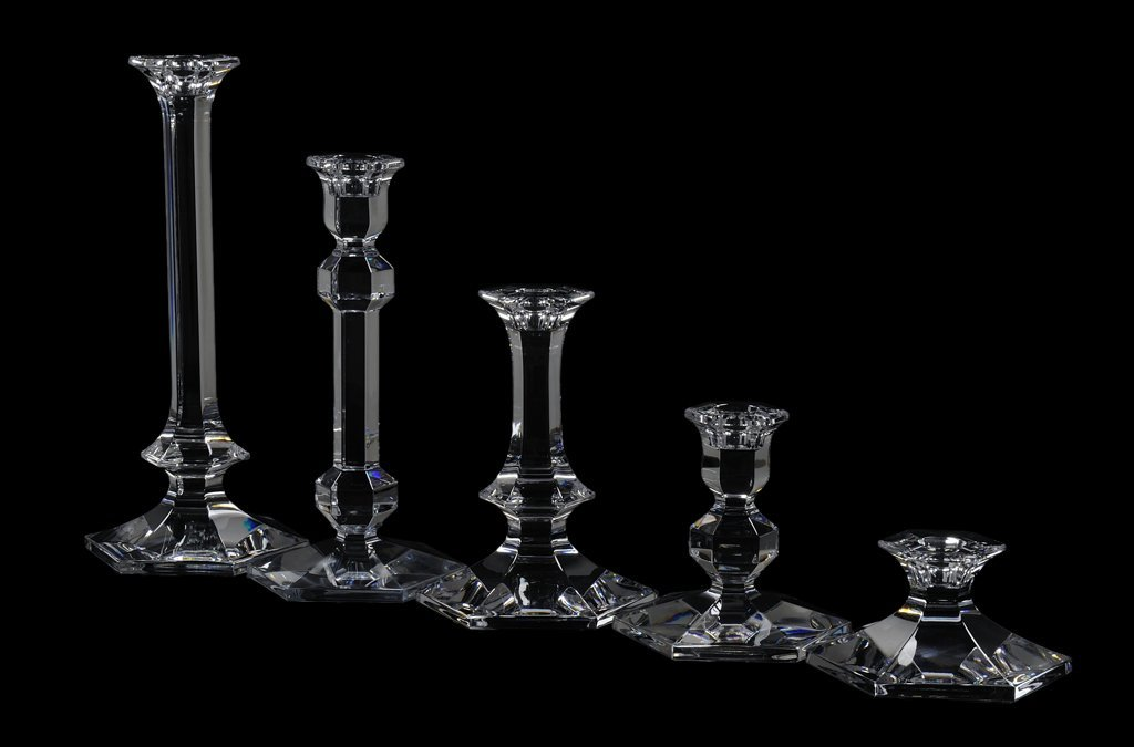 9: A GROUP OF 14 VAL ST. LAMBERT BELGIAN CRYSTAL CANDLE