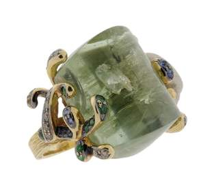 A LADIES 18K YELLOW GOLD, GREEN BERYL AND COLORED D