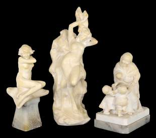 A LOT OF THREE HAND CARVED ITALIAN ALABASTER FIGURE