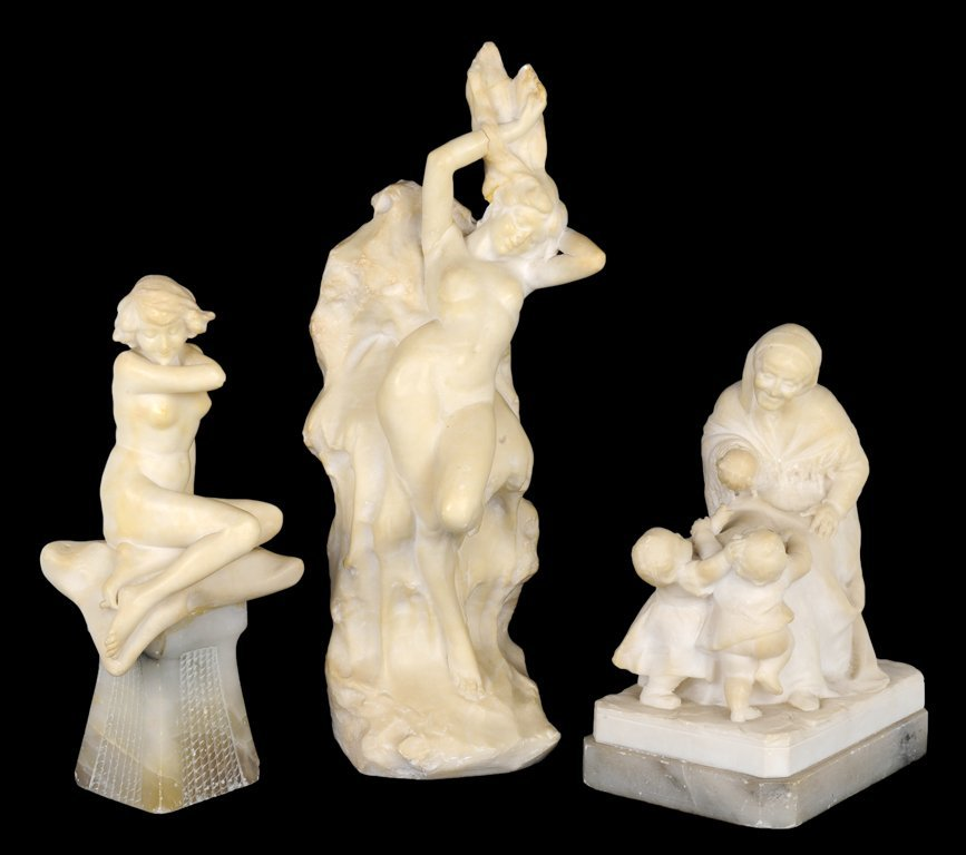 20: A LOT OF THREE HAND CARVED ITALIAN ALABASTER FIGURE