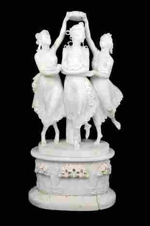 """AN ANTIQUE ITALIAN ALABASTER SCULPTURE OF """"THE THRE"""