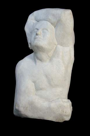 A LARGE HAND CARVED ABSTRACT MARBLE STATUE OF A MAL