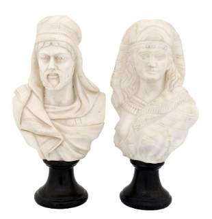 A PAIR OF ITALIAN WHITE CARRARA MARBLE BUSTS Early