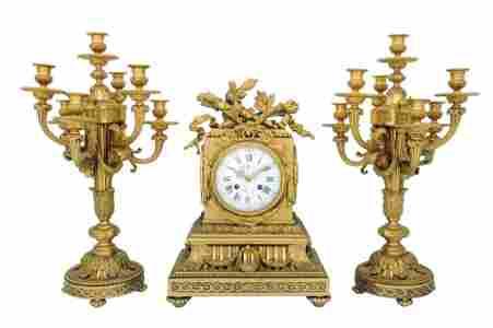 37: A LARGE LOUIS XVI STYLE BRONZE DORE CLOCK SET 19th