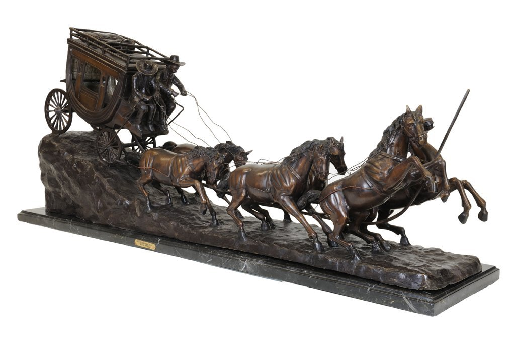 57: A LARGE CHARLES RUSSELL PATINATED BRONZE STAGECOACH