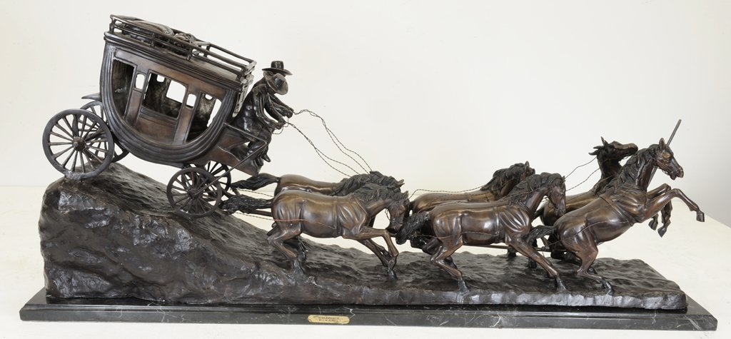 57: A LARGE CHARLES RUSSELL PATINATED BRONZE STAGECOACH - 2