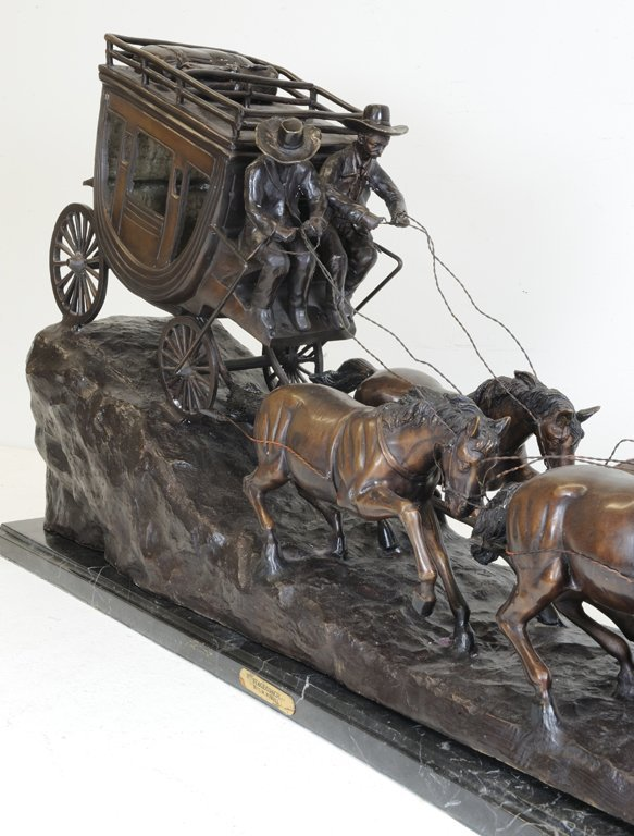 57: A LARGE CHARLES RUSSELL PATINATED BRONZE STAGECOACH - 4