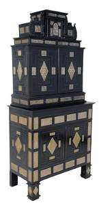 140: A FINE AND RARE ANTIQUE GERMAN PEWTER INLAID CABIN