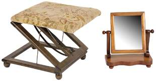 DRESSING MIRROR AND STOOL