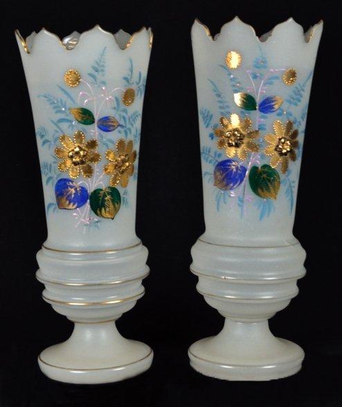 4: A PAIR OF ANTIQUE BRISTOL GLASS VASES