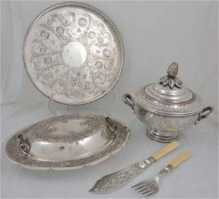 FOUR SHEFFIELD SILVERPLATE SERVING PIECES