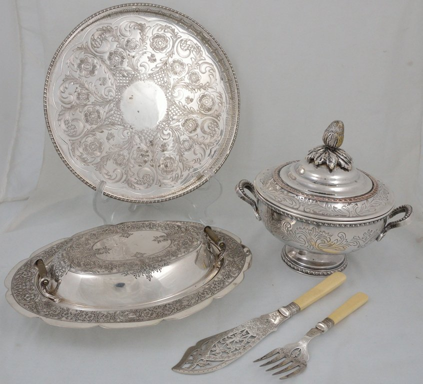 10: FOUR SHEFFIELD SILVERPLATE SERVING PIECES