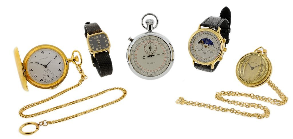 13: A GROUP OF FIVE SWISS WATCHES